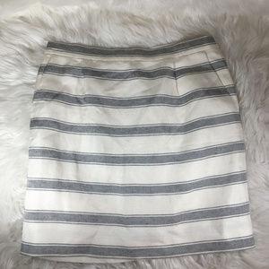 J. Crew Navy Blue White Linen Pencil Skirt Size 2